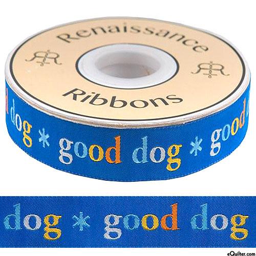 "Good Dog - 5/8"" Ribbon - Ocean Blue"