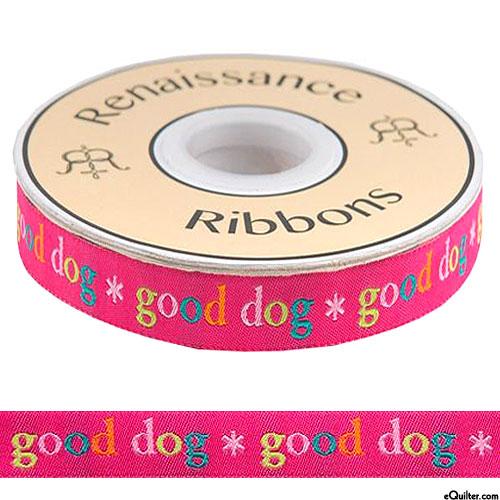 """Good Dog - 5/8"""" Ribbon - Hot Pink"""