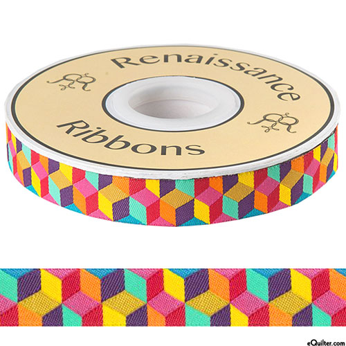"Kaffe Fassett - Narrow Blocks - 7/8"" Ribbon - Multi"