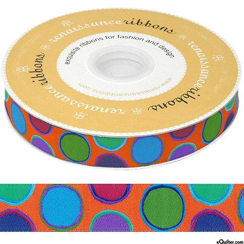 "Kaffe Fassett - Paint Pots - 7/8"" Ribbon - Blaze Orange"