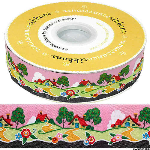 "Mary Engelbreit - Houses On A Hill - 1 1/2"" Ribbon - Petal Pink"