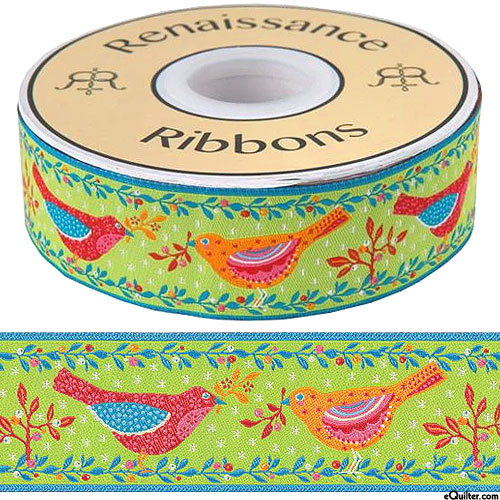"Folk Birds - 1 1/2"" Ribbon - Sprout Green"
