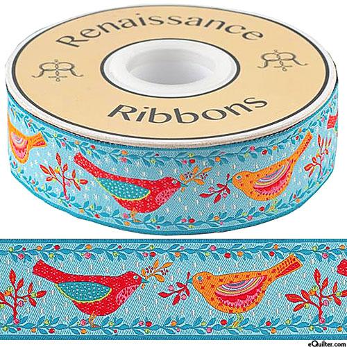 "Folk Birds - 1 1/2"" Ribbon - Sky Blue"