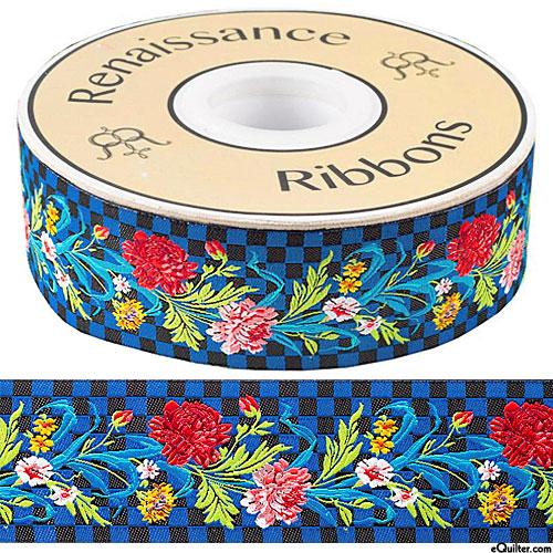 "Flowers on Checkerboard - 1 1/2"" Ribbon - Dk Blue"
