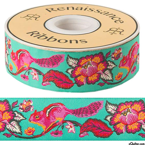 "Chipmunks & Peonies - 1 1/2"" Ribbon - Turquoise"