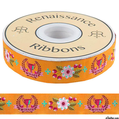 "Tula Pink - Winner's Trophy - 7/8"" Ribbon - Mango Orange"