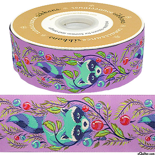 "Tula Pink - Raccoon Hideaway - 2"" Ribbon - Crocus Purple"