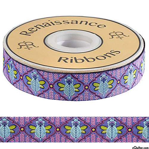 "Tula Pink - Bumble Bee - 7/8"" Ribbon - Heather Purple"