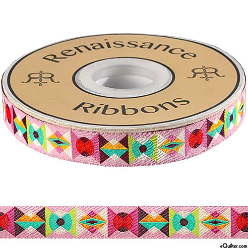 "Tula Pink - Arrowhead Geometric - 5/8"" Ribbon - Candy Pink"