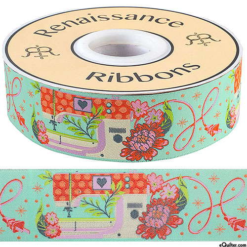 """Tula Pink - Pedal to the Metal - 1 1/2"""" Ribbon - Pale Mint"""