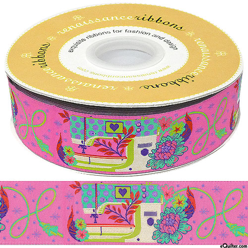 """Tula Pink - Pedal to the Metal - 1 1/2"""" Ribbon - Candy Pink"""
