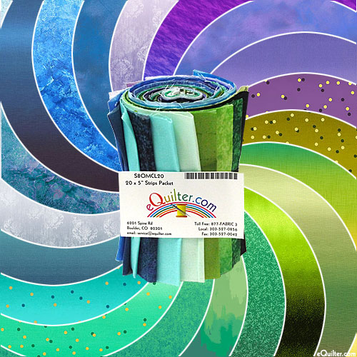 "Ombre Fat Roll - 5"" x 43"" Fat Strips - COOL Color Palette"