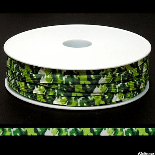 """Designer Elastic - Green Camo - 1/4"""" Braided - 55 YD SPOOL"""