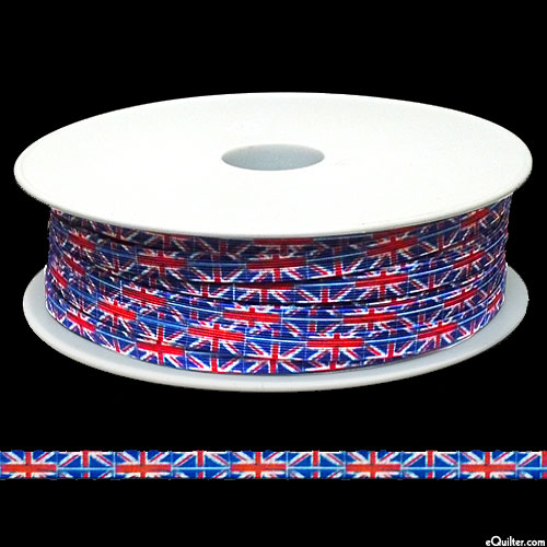 "Designer Elastic - British Flags - 1/4"" Braided - 55 YD SPOOL"