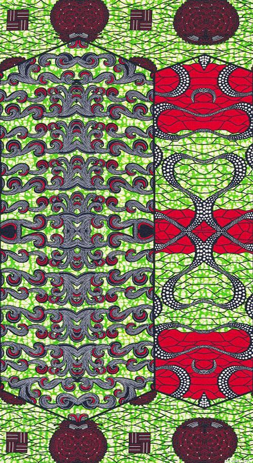 "African Wax Prints - Uma - Kelly Green - 25"" x 44"" PANEL"