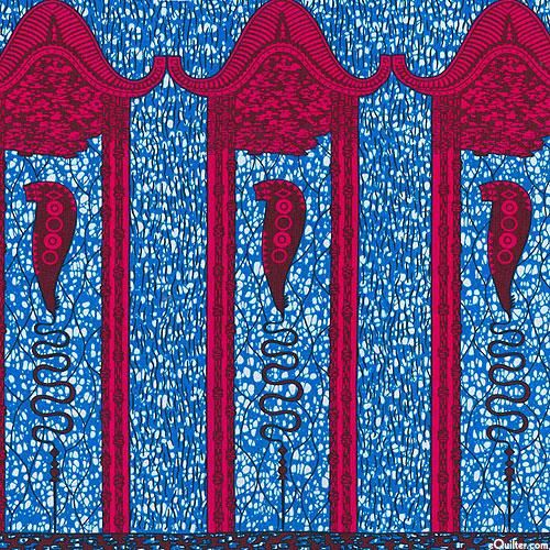 "African Wax Prints - Bahati - Royal Blue - 32"" x 44"" PANEL"
