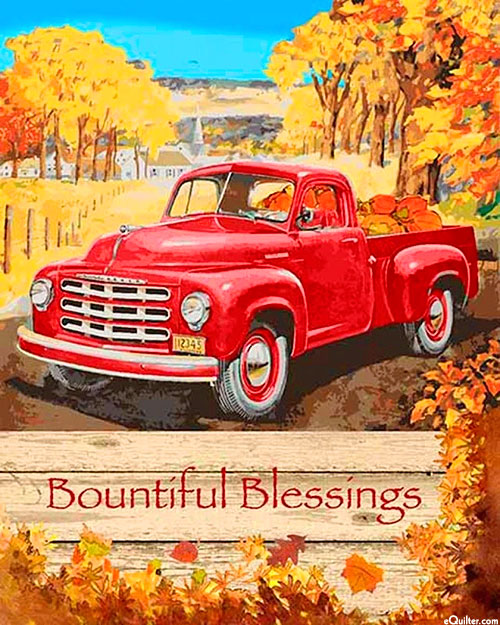 "Red Truck Blessing - Harvest Gold - 36"" x 44"" PANEL"