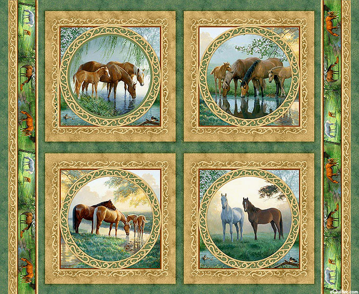 "Willow Brook - Horse Families - 36"" x 44"" PANEL"