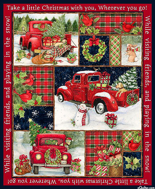 "Christmas - Red Truck Collage - Red - 36"" x 44"" PANEL"