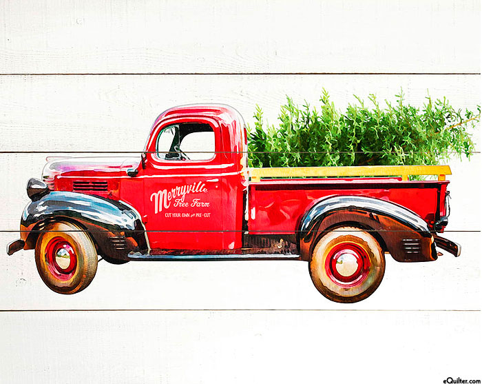 """Loads of Cheer - Bringing Home the Tree - 36"""" x 44 Panel"""