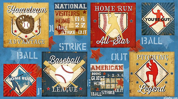 "7th Inning Stretch - Home Team - Evening Blue - 24"" x 44"" PANEL"