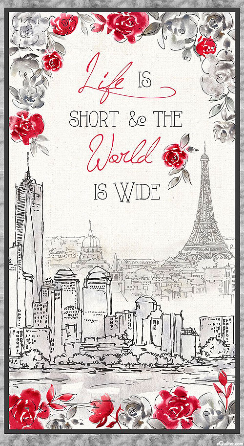 """Travel The World - Life is Short - Pewter Gray - 24"""" x 44"""" PANEL"""