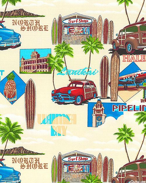 Surf Shop & Hawaiian Landmarks - Sandy Beige