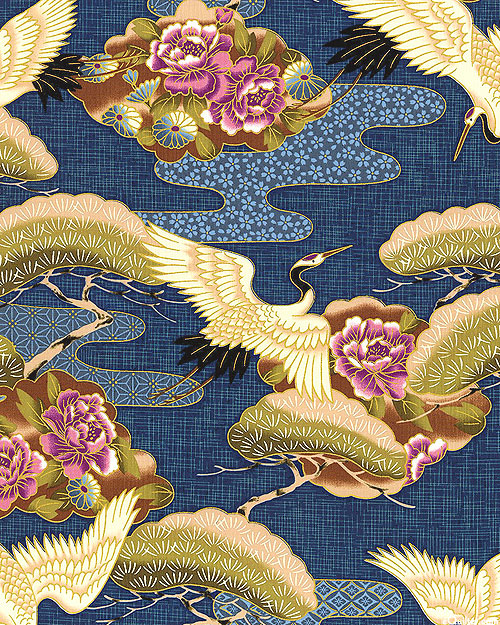 Cranes Over the River - Navy/Gold