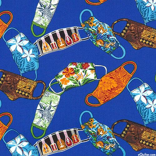 Hawaiian Mask Motif - Royal Blue