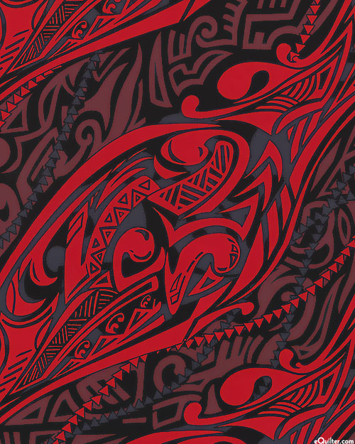 Pacific Islands - Bold Tribal - Ruby Red