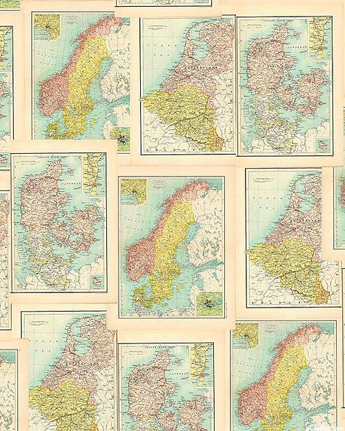 Old School Map - Continental Destinations - Ivory