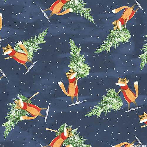 All Spruced Up - Winter Foxes - Dk Navy - DIGITAL PRINT