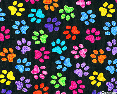Colorful Kitty Prints - Black