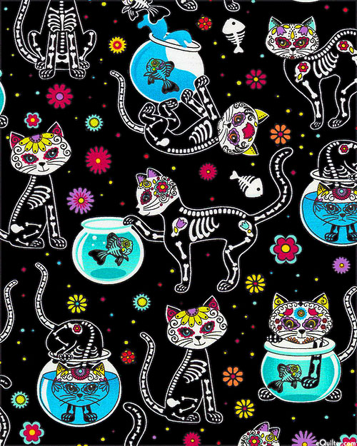 Day of the Dead Kitty - Black