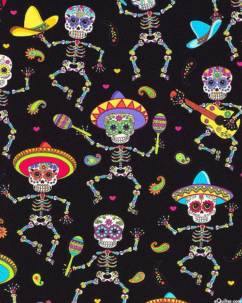 Day of the Dead Skeletons - Black