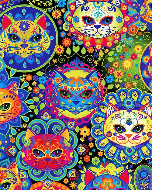Bright Cat Sugar Skulls - Multi