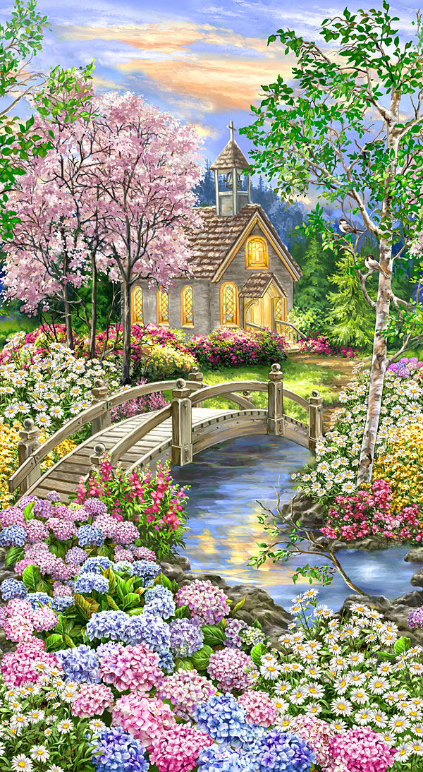 "Peaceful Garden - Blooming Forest Chapel - 24"" x 44"" PANEL"