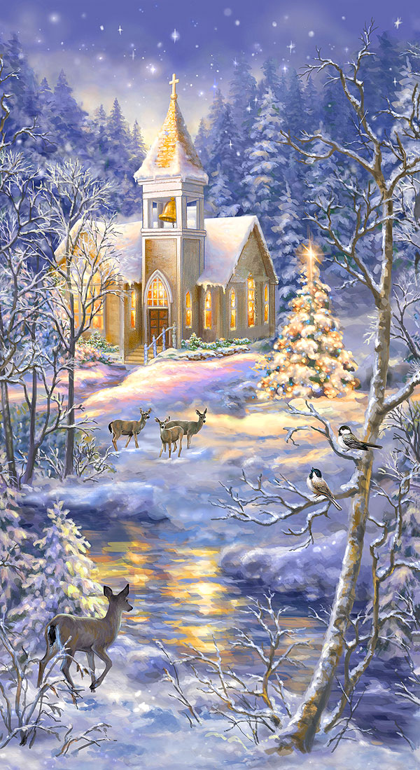 "Winter Blessing - Church in Snow - Dusk Blue - 24"" x 44"" PANEL"
