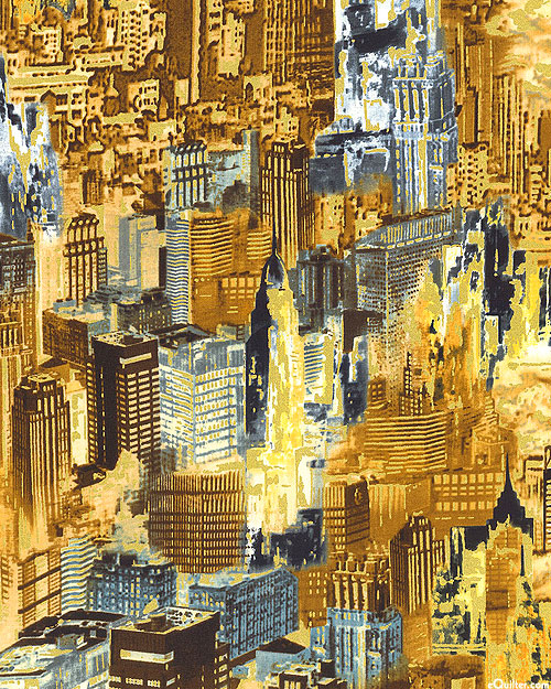 Gilded City - Allover Cityscape - Amber/Gold