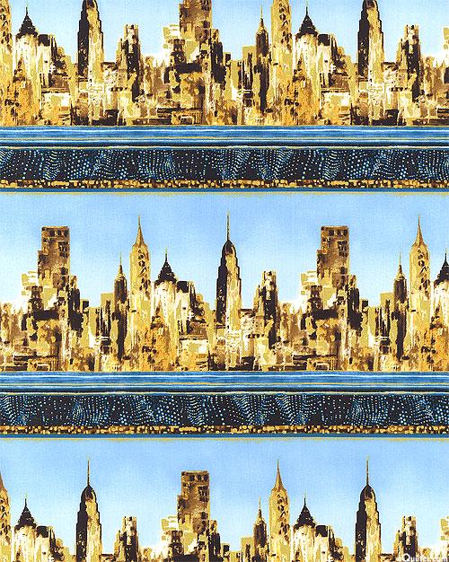 Gilded City - City Landscape Stripe - Sky Blue/Gold