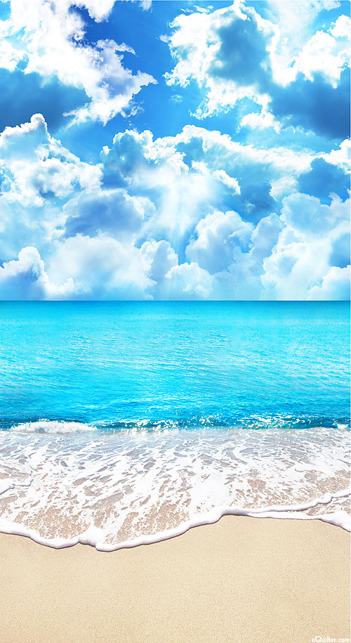 """Beach Day - Perfect Paradise - Water Blue - 24"""" x 44"""" PANEL"""