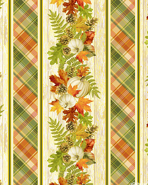 Autumn Symphony - Harvest Bouquet Stripe - Ivory/Gold