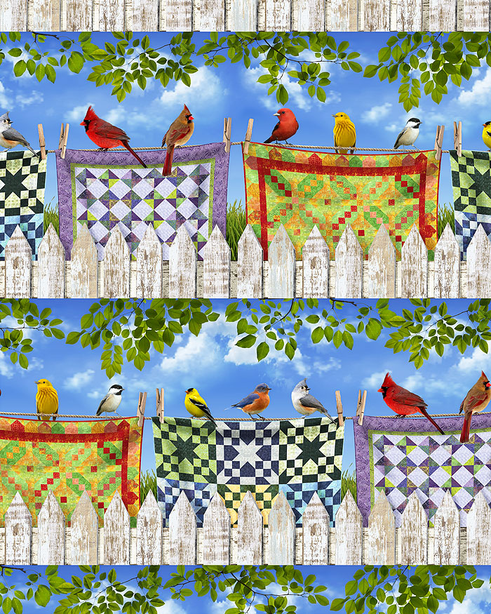 Birds on Quilts - Picket Fence Stripe - Sky Blue - DIGITAL PRINT