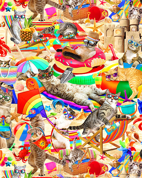 Cool Cats - Cats Chilling on the Beach - Multi - DIGITAL PRINT