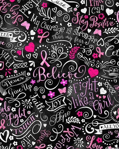 Pink Ribbon - Breast Cancer Chalkboard - Black