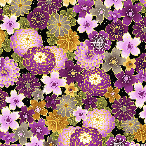 Majestic - Yamazakura Flowers - Black/Gold