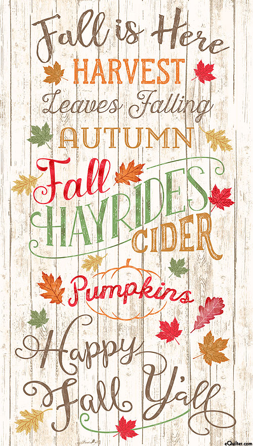 """Happy Fall Y'all - Fall is Here - Natural - 24"""" x 44"""" PANEL"""