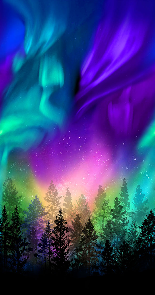 """Aurora - Light over the Forest - 24"""" x 44"""" PANEL"""