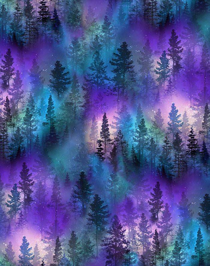 Aurora - Glowing Forest - Cobalt Blue
