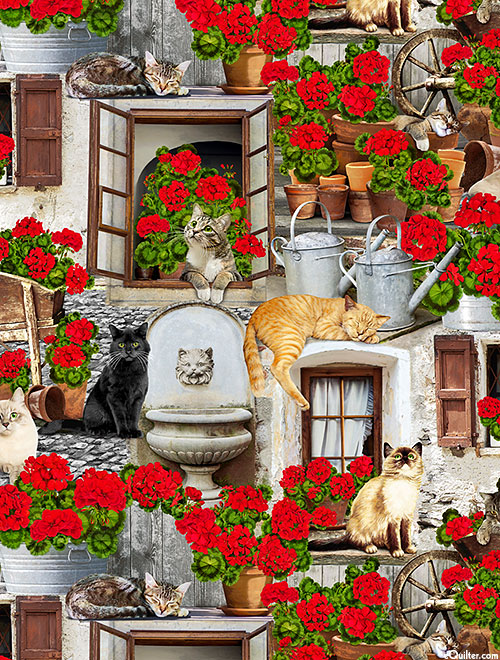 Front Porch - Cats & Geraniums - Stone Gray